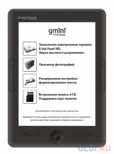 электронная книга gmini magicbook s6hd black , экран 6