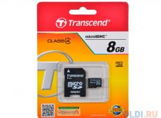 MicroSDHC Transcend  8GB Class 4 + Адаптер (TS8GUSDHC4)