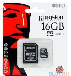 MicroSDHC Kingston 16GB Class 4 + Адаптер (SDC4/16GB)