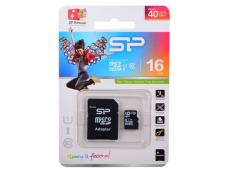 MicroSDHC Silicon Power 16GB Class10 + Адаптер (SP016GBSTH010V10-SP)