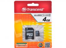 MicroSDHC Transcend  4GB Class 4 + Адаптер (TS4GUSDHC4)