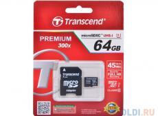 MicroSDXC Transcend 64GB Class10 UHS-I Premium + Адаптер (TS64GUSDU1)
