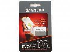 Карта памяти MicroSDXC 128GB Samsung EVO Plus v2 UHS-I U3 + SD Adapter (R100/W90Mb/s) (MB-MC128GA/RU)