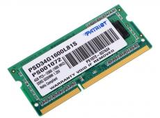 Память SO-DIMM DDR3 4Gb (pc-12800) 1600MHz 1.35V Patriot PSD34G1600L81S