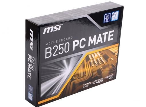 Материнская плата MSI B250 PC MATE (S1151, B250, 4DDR4, 2*PCI-E16x, D-SUB, HDMI, DVI, SATA III, GB Lan, USB3.0, ATX, Retail)