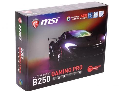 Материнская плата MSI B250 GAMING PRO CARBON (S1151, B250, 4*DDR4, 2*PCI-E16x, DVI, HDMI, SATA III, M.2, GB Lan, USB3.1, ATX, Retail)