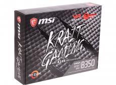 Материнская плата MSI B350 KRAIT GAMING (AM4, AMD B350, 4*DDR4, 2*PCI-E16x, 3*PCI-E1x, HDMI, DVI, SATAIII+RAID, M.2, GB Lan, USB 3.1Gen2, ATX, Retail)