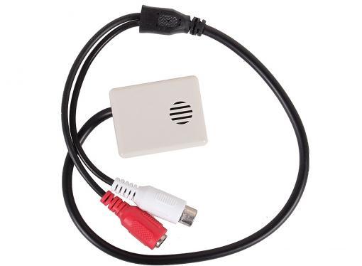 Высокочувствительный микрофон для видеосистем ORIENT VMC-04X, активный с АРУ, в корпусе, питание 6-12В, разъемы: RCA+питание