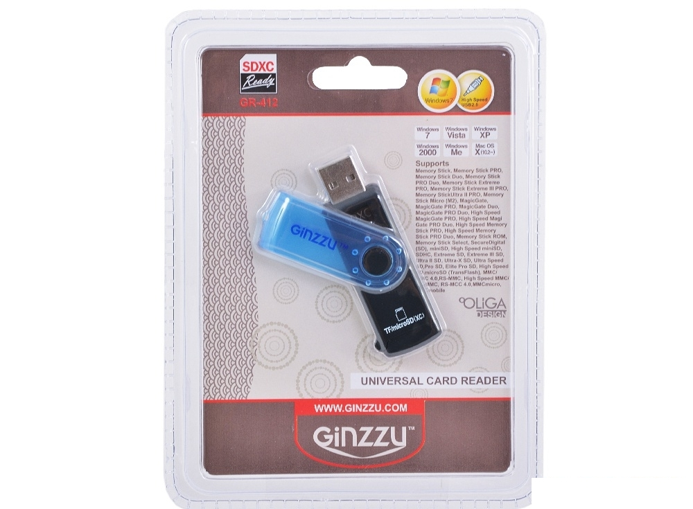 картридер ginzzu gr-412b black-blue
