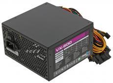 блок питания aerocool 600w oem версия vx-600 atx v2.3 a.pfc haswell, fan 12cm, 450mm cable, power cord, pci-e 6+2p x2/20+4p/4+4p/sata x4 /molex x3/fdd