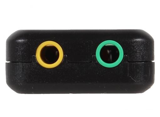 Адаптер ORIENT AU-01PL, USB to Audio, 2 x jack 3.5 mm для подключения гарнитуры к порту USB, кнопки: регулировка громкости, выкл.микрофона и наушников