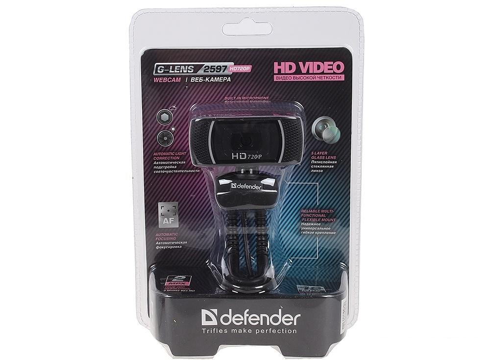 Камера интернет Defender G-lens 2597 HD720p 2 Мп, автофокус, слеж за лицом