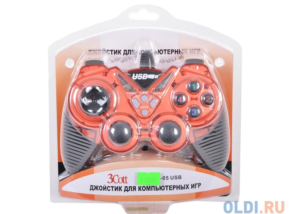 Геймпад 3Cott Single GP-05, 14 кнопок, вибрация, USB, красный