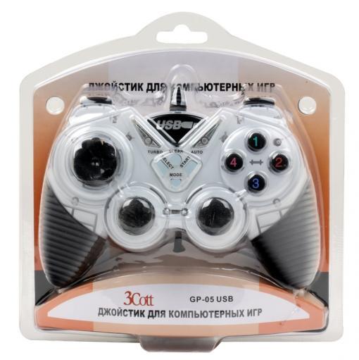геймпад 3cott single gp-05,14 кнопок, вибрация, usb,черно-белый