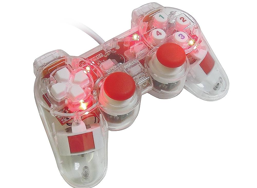 Геймпад 3Cott Single GP-01 12 конпок, вибрация , USB, прозрачный корпус