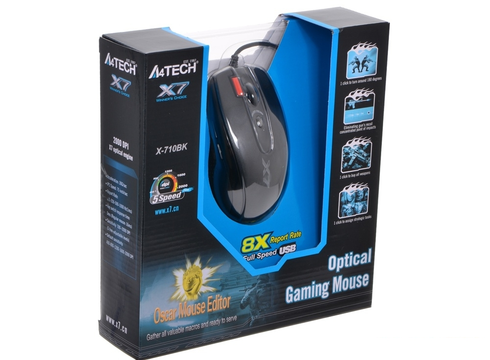 Мышь A4-Tech X-710BK, USB (черный) 6 кн, 1 кл-кн, 2000 dpi