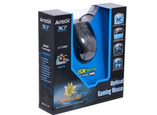 Мышь A4-Tech X-710MK, USB, (черный) 6 кн, 1кл-кн, 2000 dpi