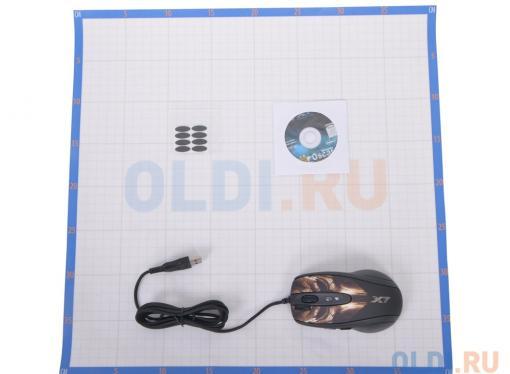 Мышь A4-Tech XL-750BH, USB (кожа ) желто-коричневая