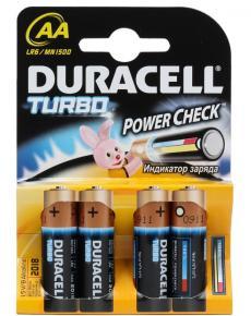 Батарейки DURACELL  LR6-4BL TURBO (80/240/20400)  Блистер  4шт   (AA)