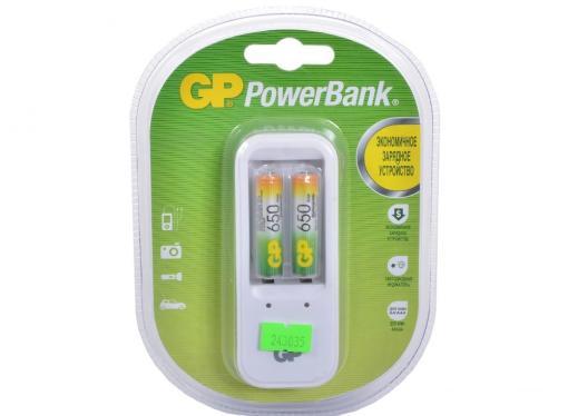 Зарядное устр. GP PowerBank, 13 часов + аккум. 2шт. 650mAh (GP PB410GS65-CR2)