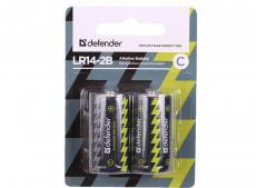 Батарейка Defender алкалиновая LR14-2B С, в блистере 2 шт