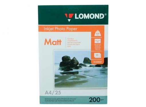 0102052 бумага LOMOND (A4, 200гр, 25л) Photo Матовая , 2 стор.
