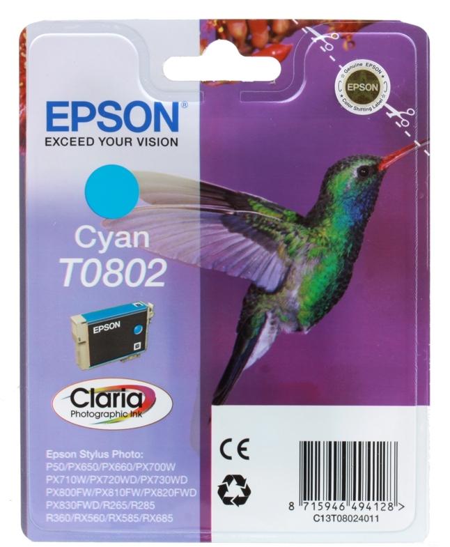 Картридж Epson Original T08024011 голубой для P50/PX660