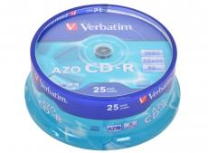 CD-R Verbatim 700Mb 52x DL Crystal AZO 25шт Cake Box