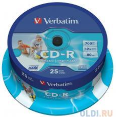 CD-R Verbatim 700Mb 52x DL Crystal AZO 25шт Cake Box Printable