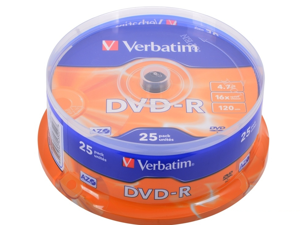 DVD-R Verbatim 4.7Gb 16х 25шт Cake Box