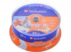 DVD-R Verbatim 4.7Gb 16х 25шт Cake Box Printable