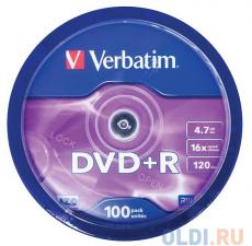 DVD+R Verbatim 4.7Gb 16x 100шт Cake Box
