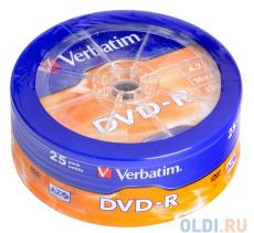DVD-R Verbatim 4.7Gb 25шт Shrink