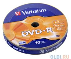 DVD-R Verbatim 4.7Gb 10шт Cake Box Shrink
