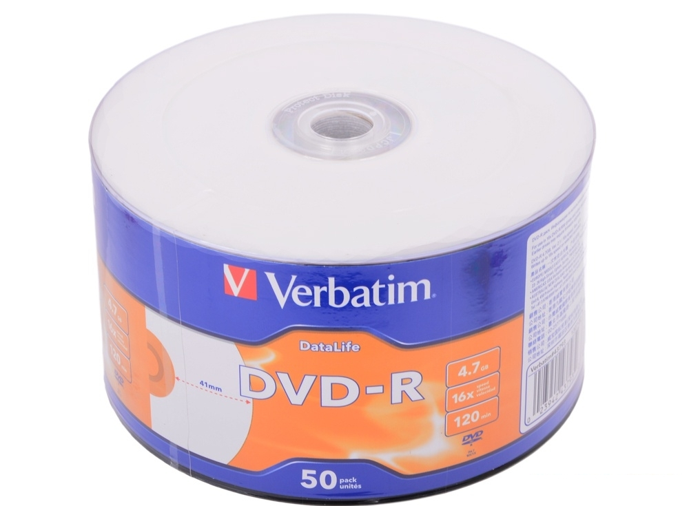 DVD-R Verbatim 4.7Gb 16x 50шт Shrink Ink Printable
