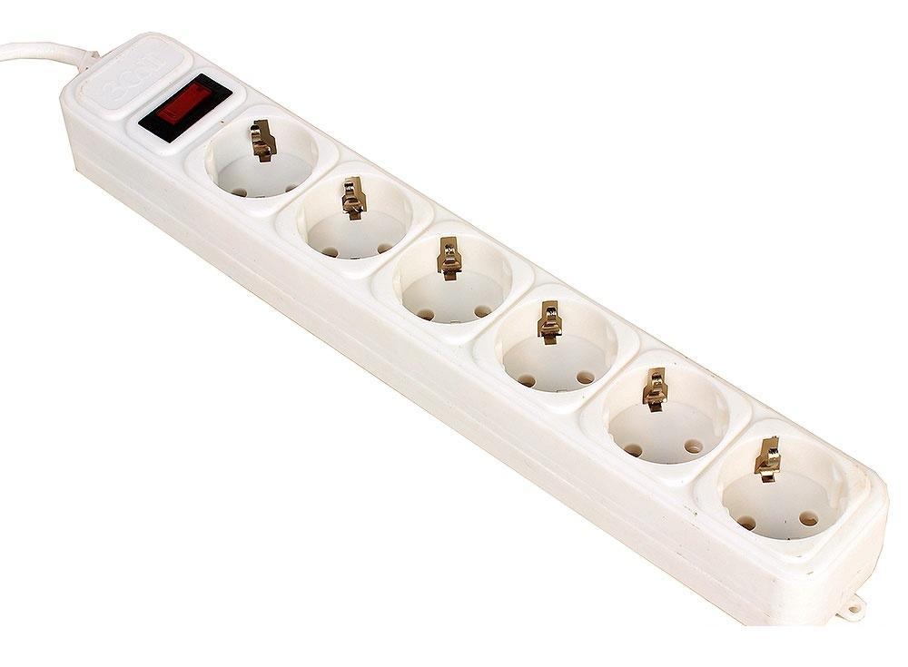 Сетевой фильтр 3Cott 3C-SP1006W-1.8, 6 евро-розеток с заземлением, 1,8 м, автоматический предохранитель, макс. мощность 2200 Вт, белый, коробка