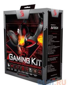 Набор игровой A4-Tech Bloody наушники с микрофоном A4 G500 + Мышь A91+ Коврик B-072 черный/красный 2.2м мониторы (A91G5PB72)