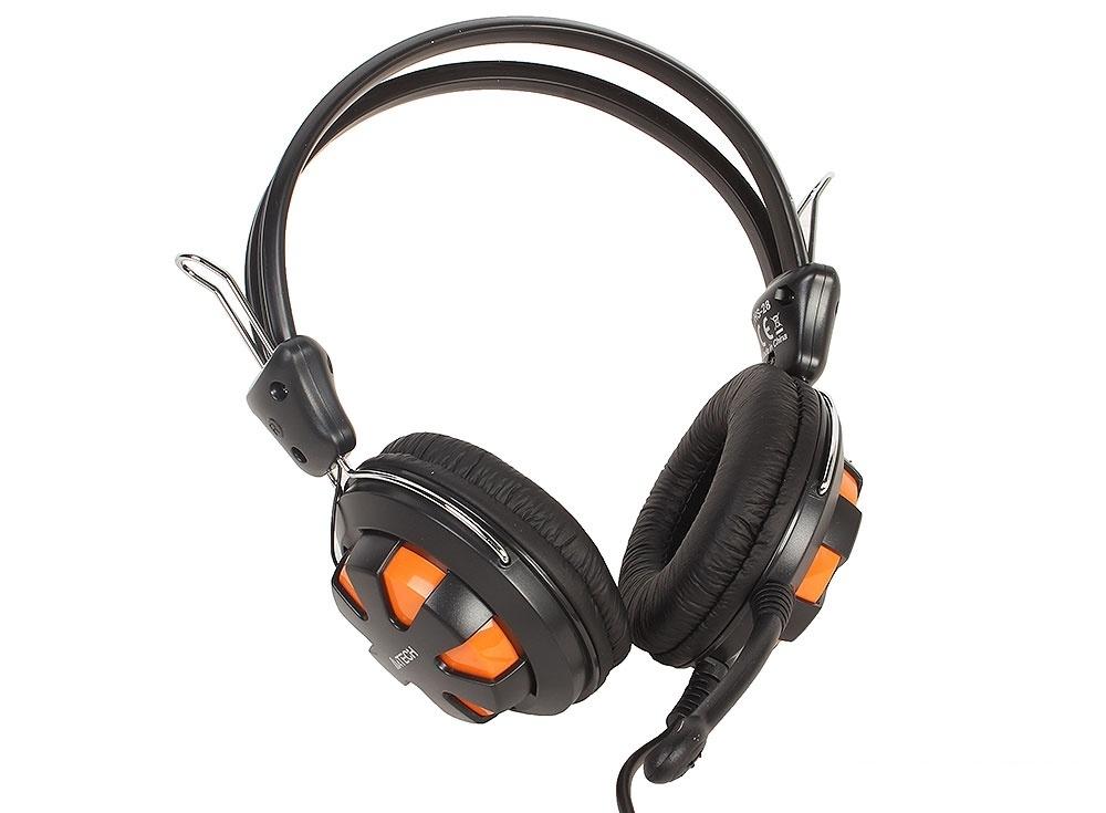 Гарнитура  A4Tech HS-28 оранжевый/черный 1.8м