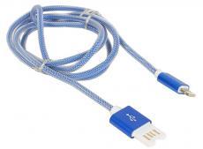 Кабель USB 2.0 Cablexpert, AM/Lightning 8P, 1м синий металлик