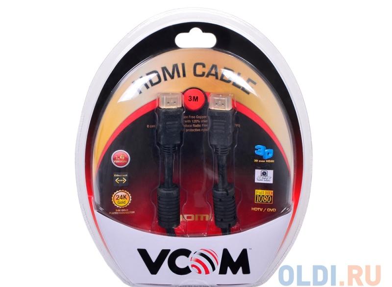 Кабель VCOM HDMI 19M/M ver:1.4-3D, 3m, позолоченные контакты, 2 фильтра (VHD6020D-3MB) Blister