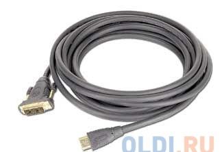 Кабель HDMI - DVI-D 19M/19M 1.8м Gembird Single Link, черный, позол.разъемы, экран, пакет