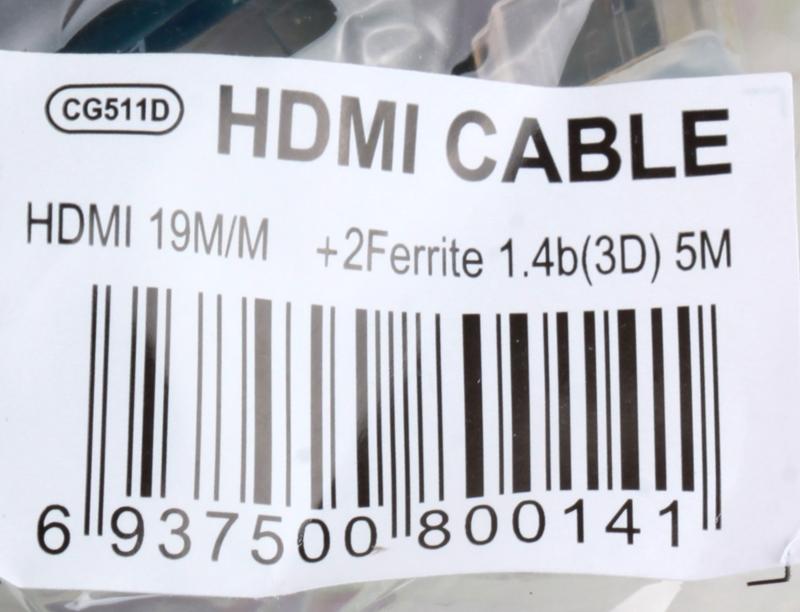 Кабель Telecom HDMI to HDMI (CG511D-5M), (19M -19M), ver.1.4b, 2 фильтра, 5м, с позолоченными контактами