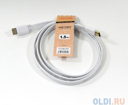 Кабель цифровой HDMI-HDMI 1.4V; 1,5m, плоский, белый, TV-COM (CG200FW-1.5M)