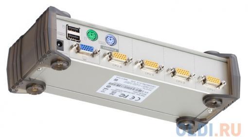 Переключатель KVM ATEN PS2/USB+VGA =)  4 cpu PS2/USB+VGA,  2048x1536, настол., исп.стандарт.шнуры, без OSD (CS84U-AT)