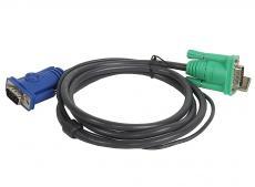 Шнур, мон+клав+мышь USB, SPHD15=)HD DB15+USB A-Тип ATEN (2L-5201U) Male-2xMale,  8+4 проводов, опрессованный,   1.2 метр., черный
