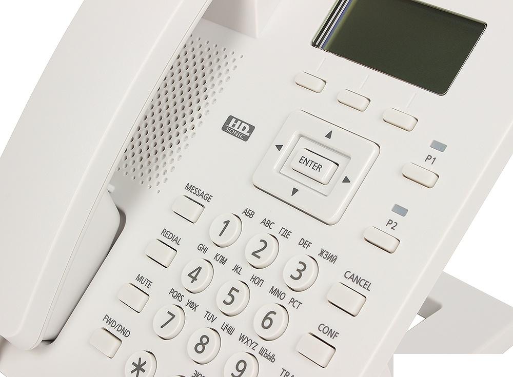 Телефон IP Panasonic KX-HDV100RU SIP Цифр. IP-телефон, VoIP, Ethernet, Память 500, Звук HD