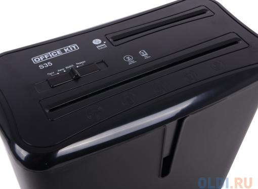 Шредер Office Kit S35 4x40 (DIN P-4 O-3 T-4 E-3) фрагмент 4x40мм,9 листов,14 литров,Уничт.скобы,пл.карты,CD