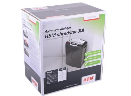 шредер hsm shredstar x8-4.0x35 (din p-4 o-1 t-2 e-2 f-1) фрагм.4х35мм,10 листов,18 литров,уничт.скобы,скрепки,пл.карты,cd