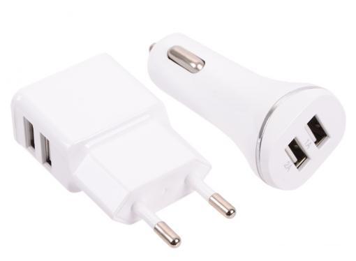 Зарядное устроиство USB комплект от сети и в авто Gmini GM-MC-001-2USB, c кабелем USB на микро USB и Apple Lightning, с 2 USB портами, белый