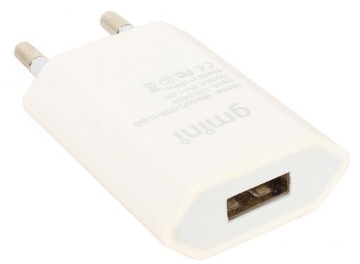Зарядное устроиство USB от сети питания 220В Gmini GM-WC-008-1USB, с 1 USB портом 5В1А, белый